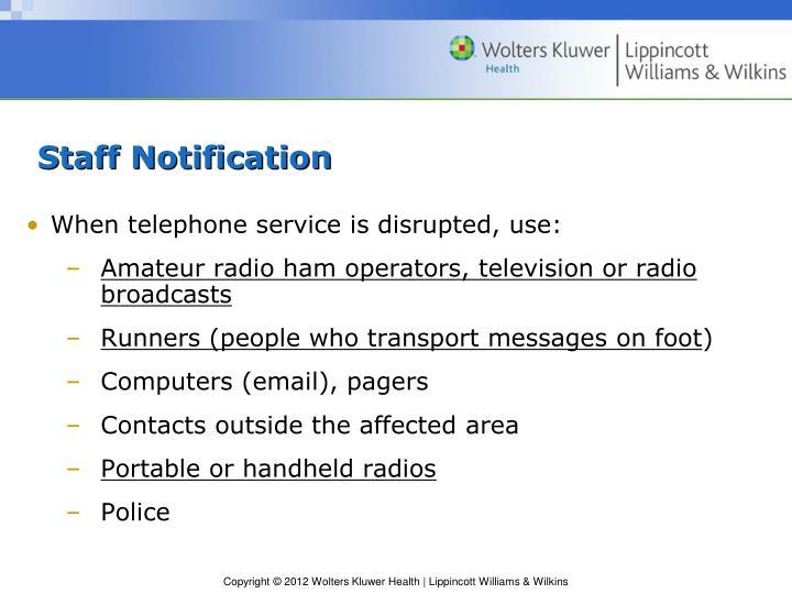 Staff Notification