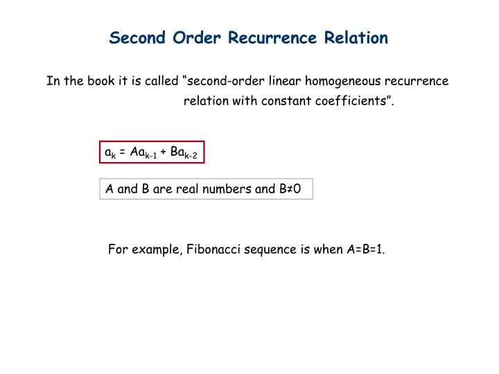Second Order Recurrence Relation
