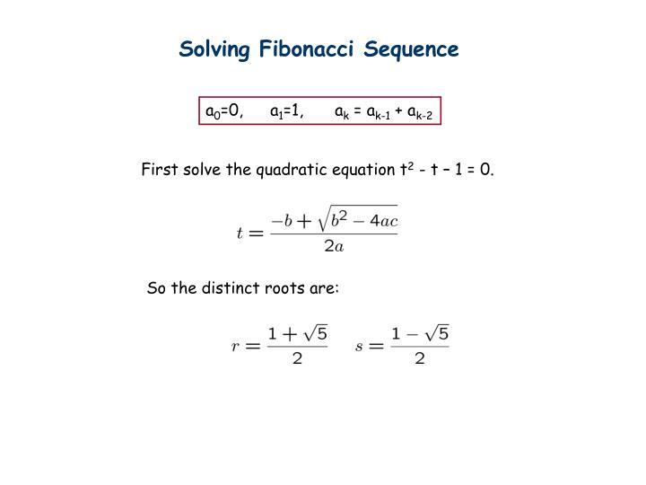 Solving Fibonacci Sequence