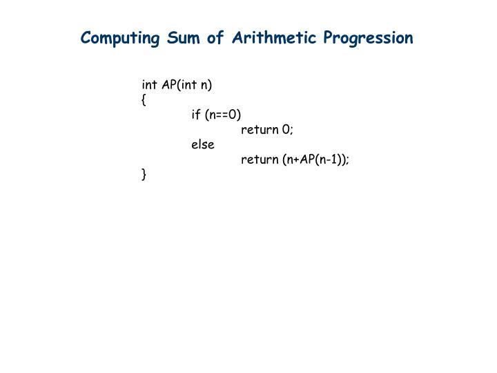 Computing Sum of Arithmetic Progression