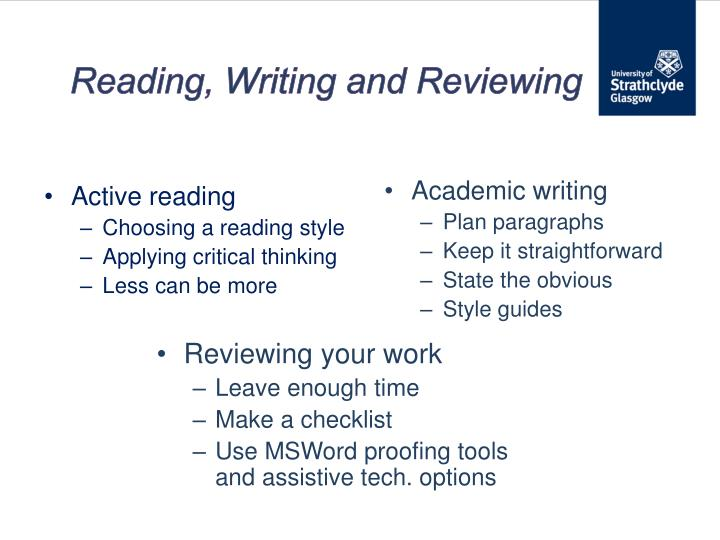 Reading, Writing and Reviewing