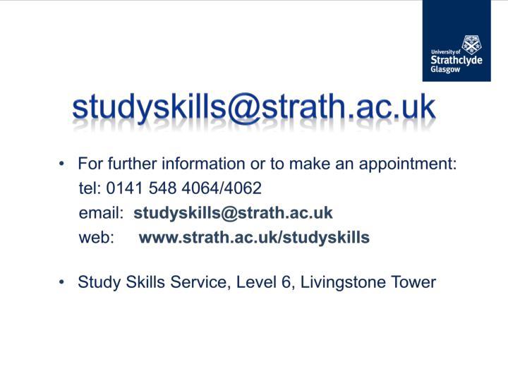 studyskills@strath.ac.uk