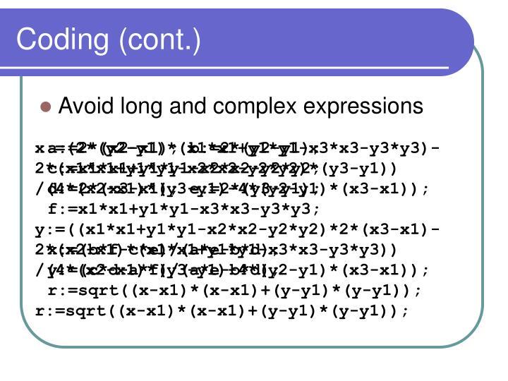 Coding (cont.)