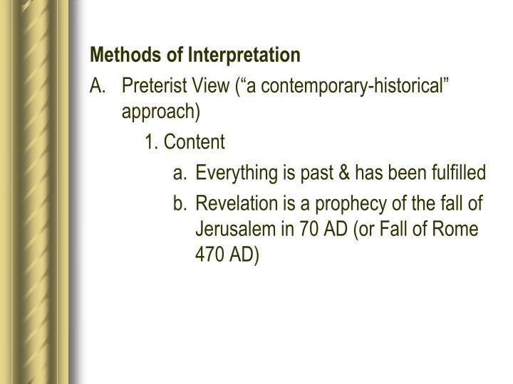 Methods of Interpretation