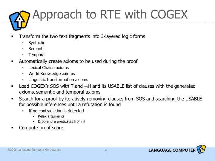 Approach to RTE with COGEX