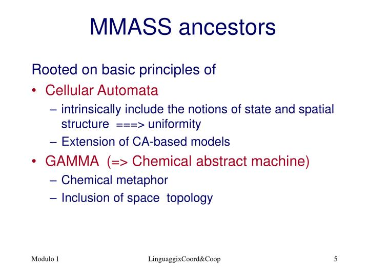 MMASS ancestors