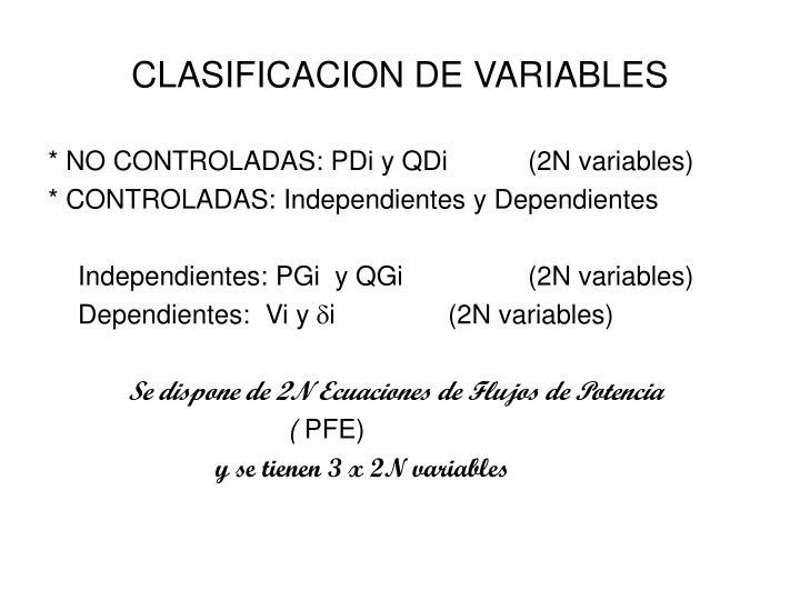 CLASIFICACION DE VARIABLES
