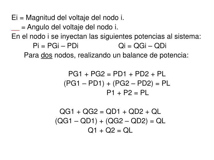 Ei = Magnitud del voltaje del nodo i.