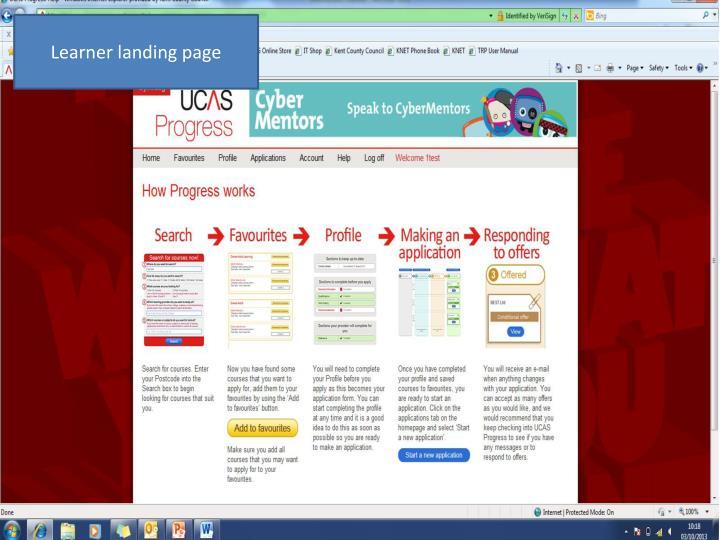 Learner landing page