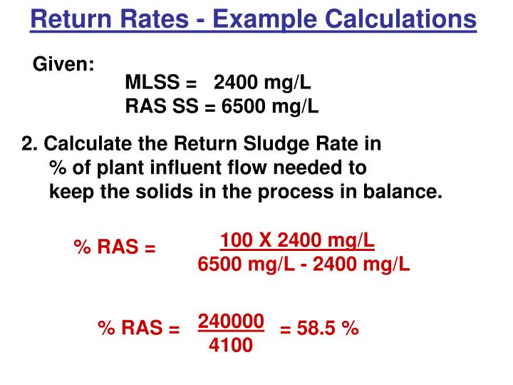 Return Rates - Example Calculations