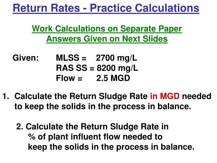 Return Rates - Practice Calculations