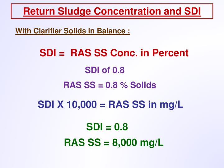 Return Sludge Concentration and SDI