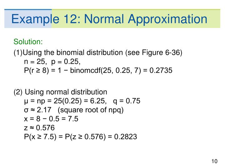 Example 12: Normal Approximation
