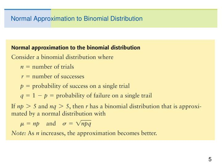 Normal Approximation to Binomial Distribution