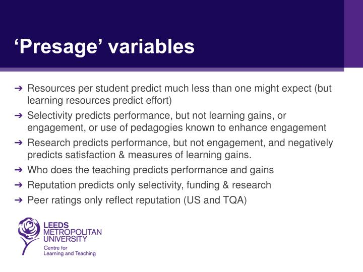 'Presage' variables