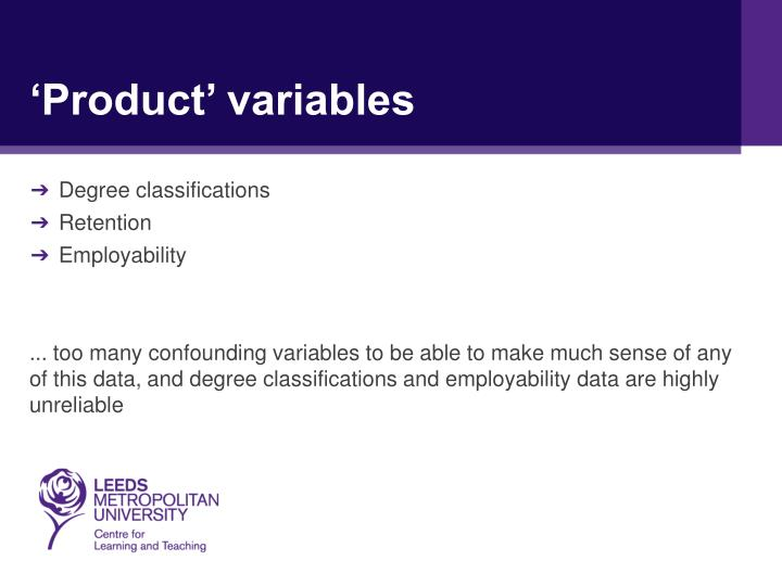 'Product' variables