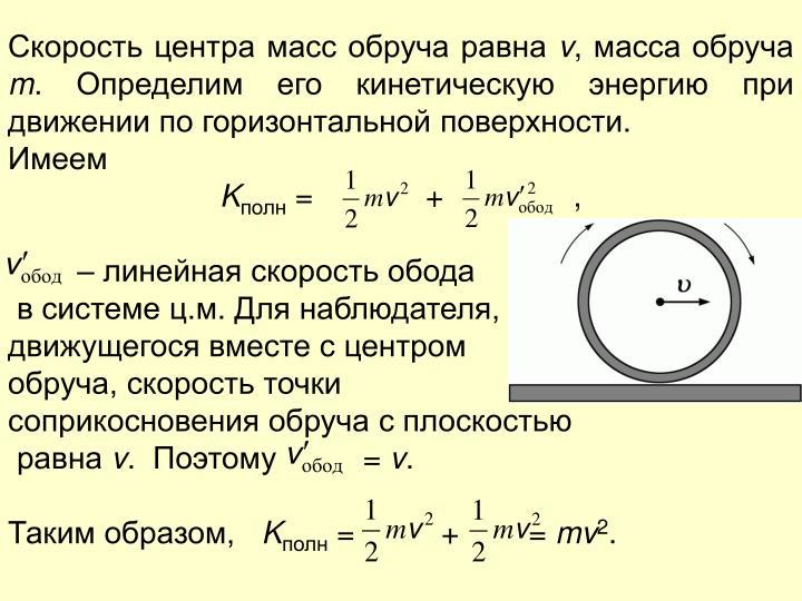 Скорость центра масс обруча равна