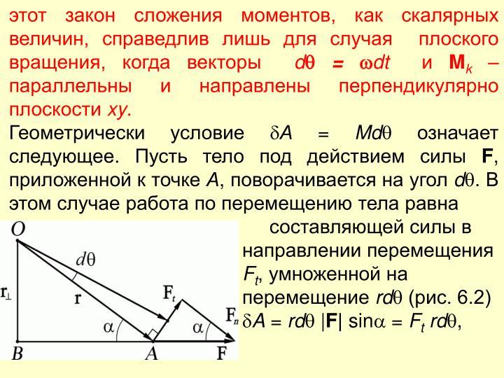 этот закон сложения моментов, как скалярных величин, справедлив лишь для случая  плоского вращения, когда векторы