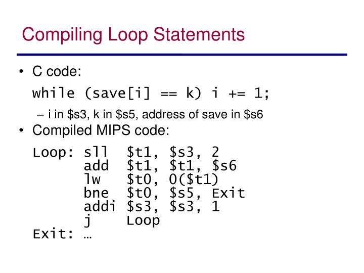 Compiling Loop Statements