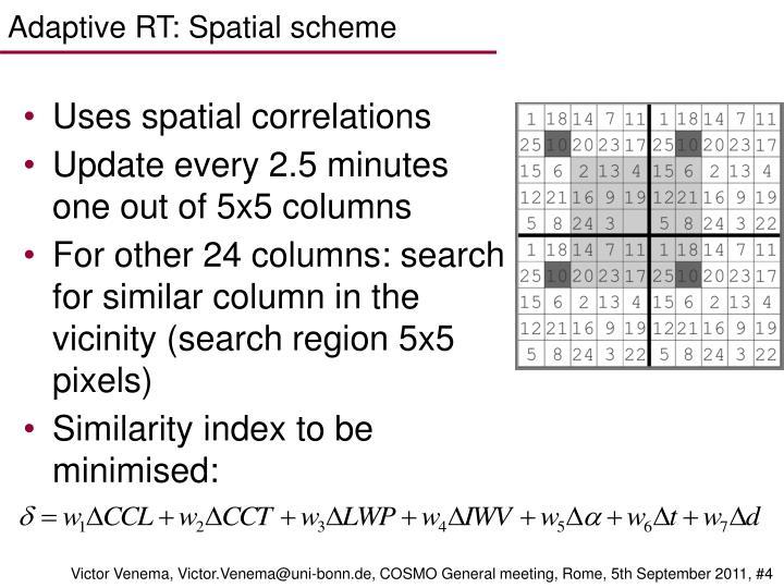 Adaptive RT: Spatial scheme