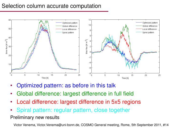 Selection column accurate computation