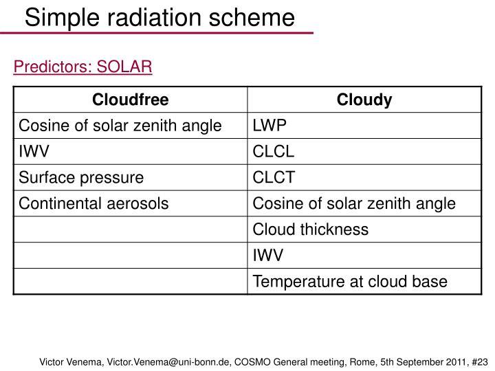 Simple radiation scheme
