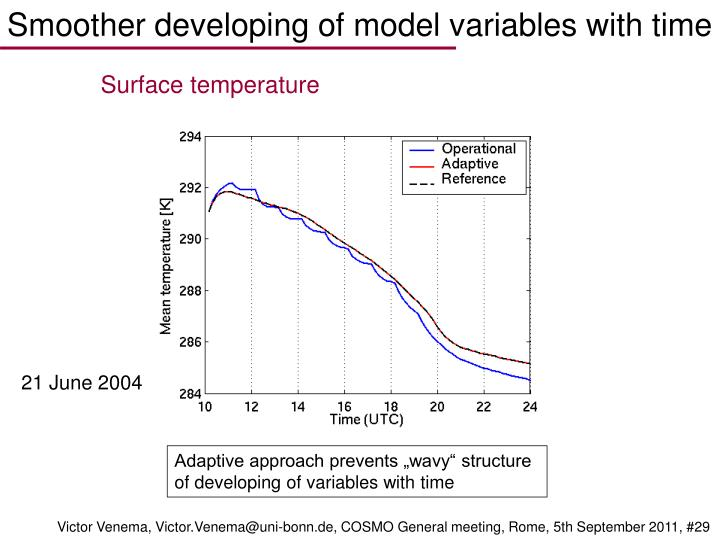 Smoother developing of model variables with time