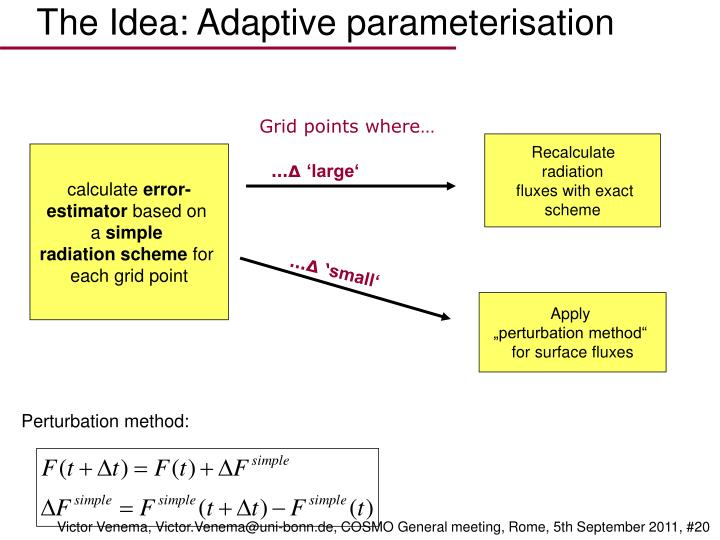 The Idea: Adaptive parameterisation