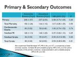 primary secondary outcomes