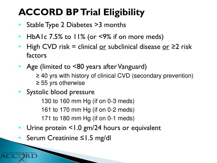 ACCORD BP Trial Eligibility