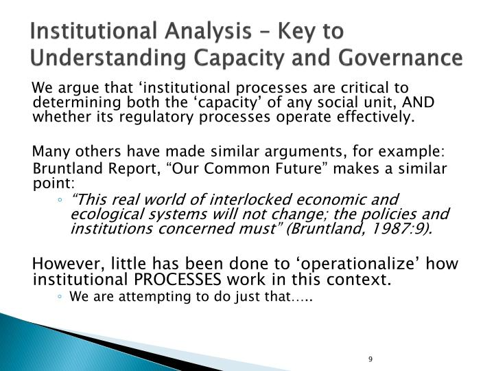 Institutional Analysis – Key to Understanding Capacity and Governance