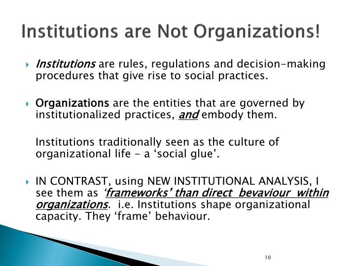 Institutions are Not Organizations!