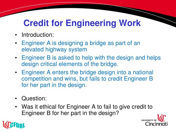 Credit for Engineering Work