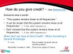 how do you give credit use r eferences