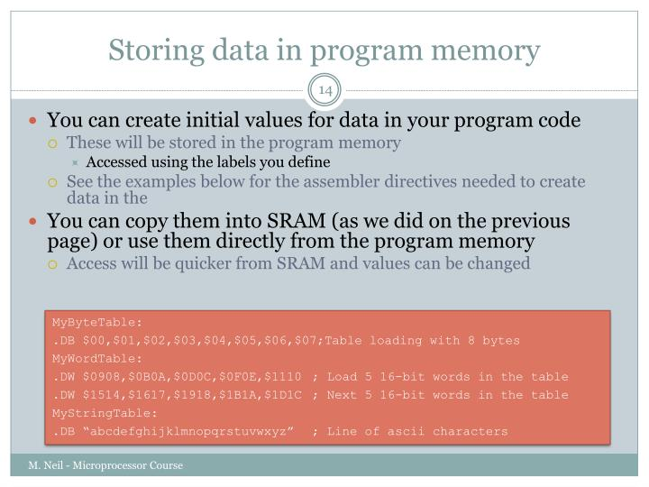 Storing data in program memory