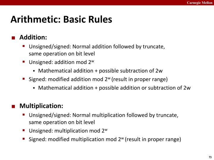 Arithmetic: Basic Rules