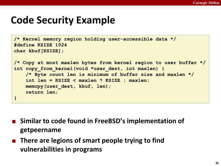 Code Security Example