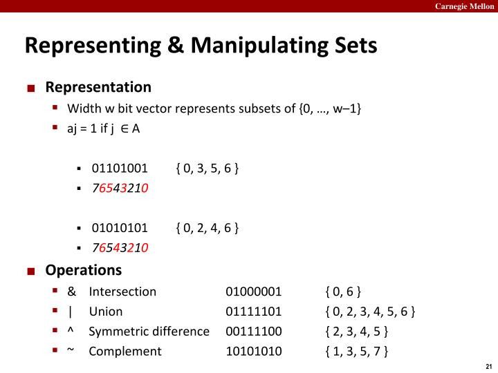 Representing & Manipulating Sets