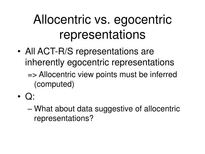 Allocentric vs. egocentric representations