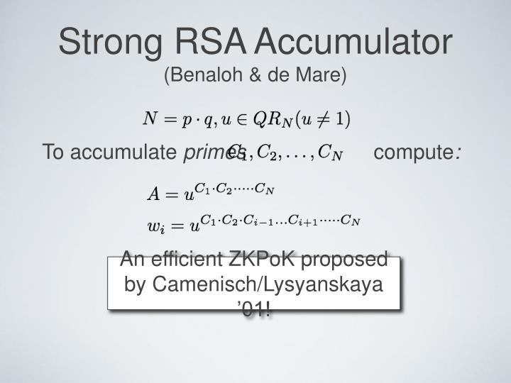 Strong RSA Accumulator