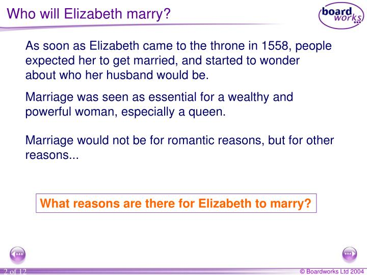 Who will Elizabeth marry?
