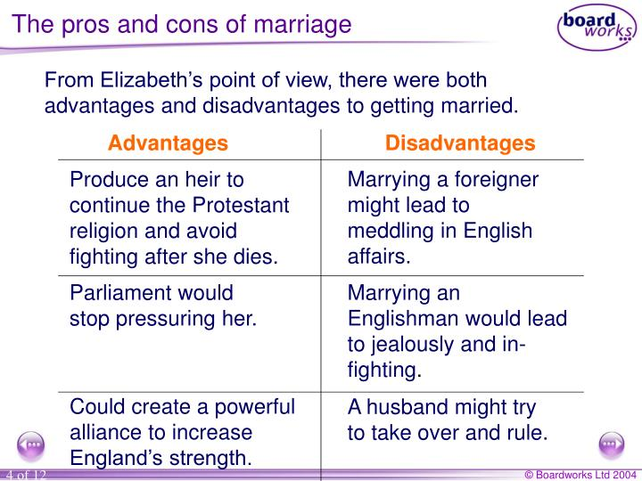 The pros and cons of marriage
