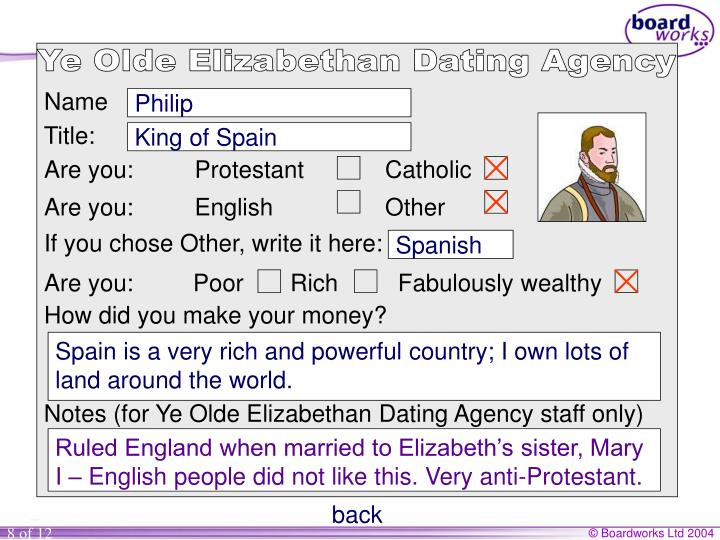 Ye Olde Elizabethan Dating Agency