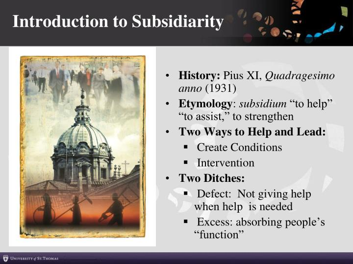 Introduction to Subsidiarity