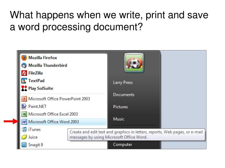 What happens when we write, print and save a word processing document?