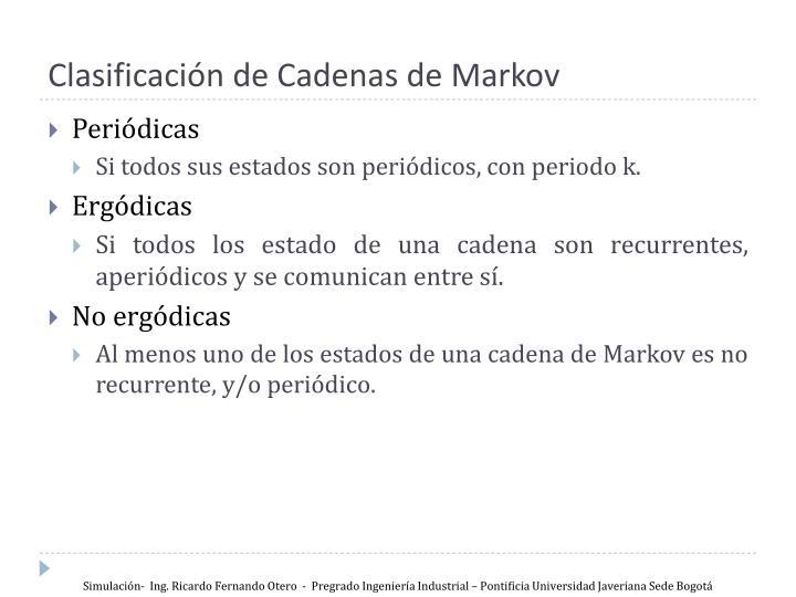 Clasificación de Cadenas de