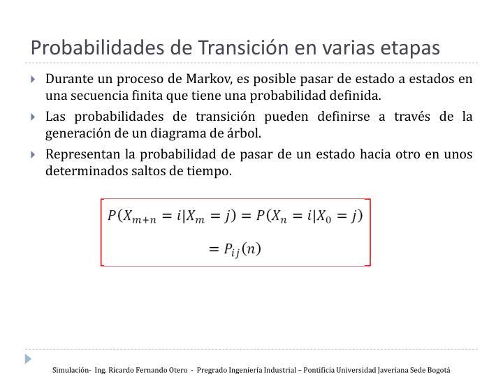 Probabilidades de Transición en varias etapas