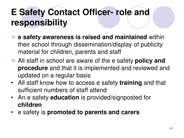 E Safety Contact Officer- role and responsibility