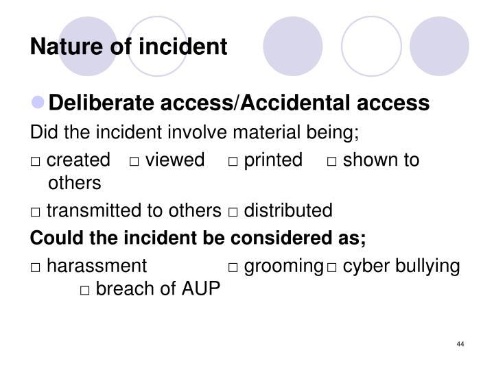 Nature of incident