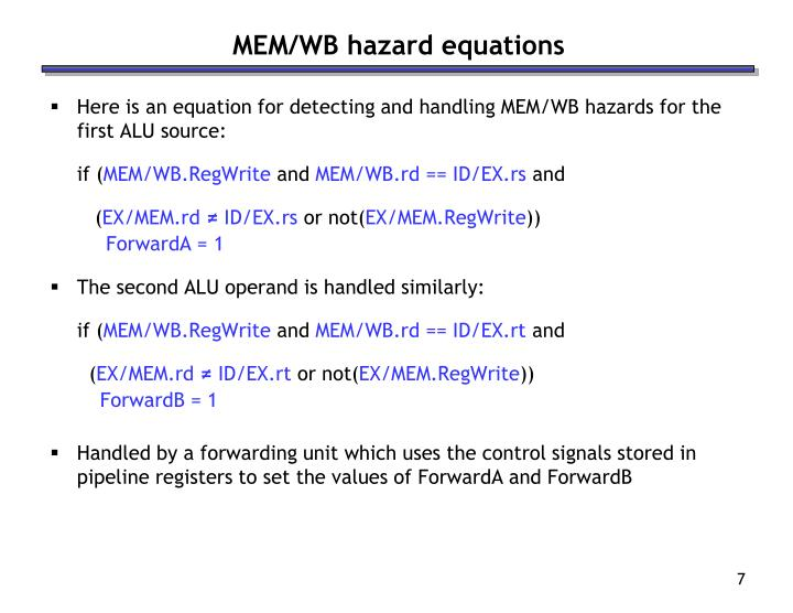 MEM/WB hazard equations